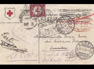 Ägypten/Egypte: 1916: Rotes Kreuz Cairo-Genf, Zensur, viele Weiterleitungen