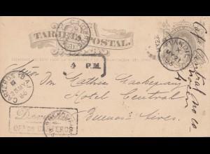 Argentinien: 1886: Ganzsache Tandil nach Buenos Aires