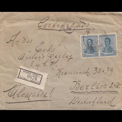 Argentinien: 1921: Einschreiben Buenos Aires nach Berlin