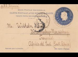 Argentinien: 1899: Ganzsache Buenos Aires nach South Africa