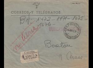 Argentinien: 1944: Einschreiben Ministerio del Interior nach USA/Boston Mass.
