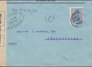 Argentinien: 1917: Buenos Aires in die Schweiz/Dürrenaesch, Zensur