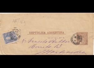 Argentinien: 1899 Ganzsache nach Montevideo als Streifband