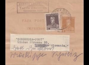 Argentinien: 1935: Streifband Buenos Aires nach Berlin