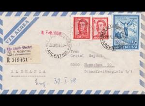 Argentinien: 1968: Einschreiben Luftpost Villa Allende nach München