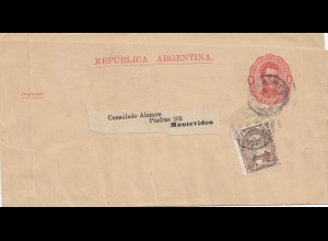 Argentinien: 1899 Streifband Ganzsache nach Montevideo