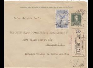 Argentinien: 1933: Buenos Aires, Einschreiben, nach USA/Chicago