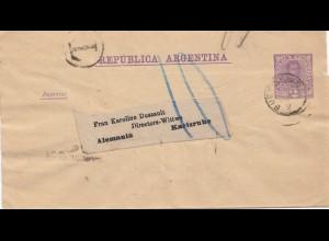 Argentinien: 1891: Ganzsache Streifband nach Karlsruhe, Nachgebühr