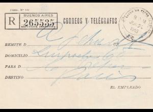 Argentinien: 1940: Einschreiben Correos Y Telegrafos