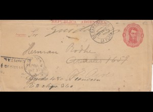 Argentinien: 1890: Ganzsache nach Buenos Aires