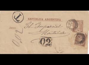 Argentinien: Ganzsache Streifband nach Montevideo mit Taxe