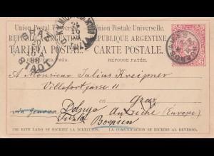 Argentinien: 1888: Ganzsache von Buenos Aires nach Bosnien/Graz