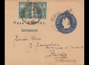 Argentinien: 1898: Streifband Ganzsache nach Paris