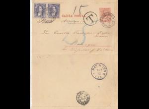 Argentinien: 1892: Ganzsache nach Ratingen mit Taxe