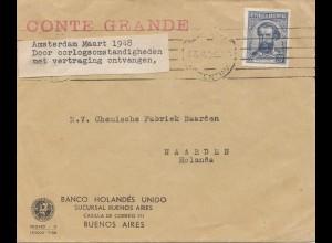 Argentinien: 1948: Amsterdam Maart, Banco Hollandés Unido nach Naarden