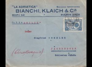 Argentinien: 1893: Buenos Aires nach Jägerndorf/Schlesien, per S.S. Duilio