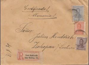 Argentinien: 1921: Einschreiben nach Tschopau,