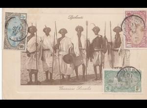 Äthiopien: 1910 Ansichtskarte Guerriers Somalis, Djibouti