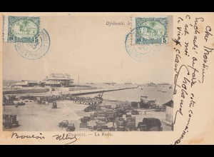 Äthiopien: 1904: Ansichtskarte Djibouti - La Rade nach Bordeaux