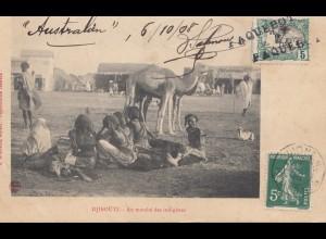 Äthiopien: 1908: Ansichtskarte Djibouti Au Marché des indigènes nach Frankreich