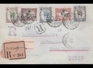 Äthiopien: 1904: Einschreiben von Djibouti nach USA/Boston