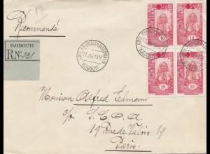 Äthiopien: 1919: Einschreiben Djibouti nach Paris