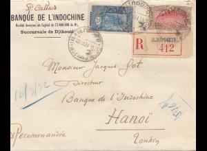 Äthiopien: 1932: Banque de l'Indochine, Einschreiben Djibouti nach Hanoi