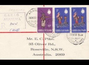 Australien: 1969: Einschreiben Aranuka Ellice Islands to Roseville, Registered