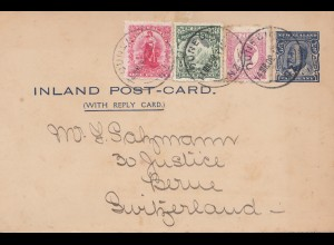 New Zealand: 1908: Inland Postcard/Ganzsache Sydney to Switzerland