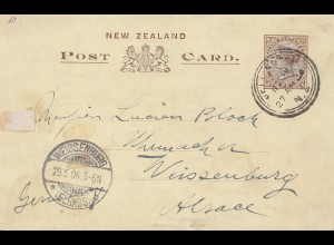 Australien: 1904: Postcard New Zealand / Ganzsache/ to Weissenburg/Elsass