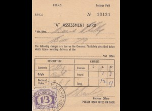 Australien: 1965: Assessment Card New Guinea