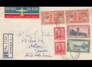 Australien: 1950: Air Mail Registered Dunedin to Holton/USA