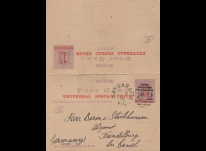 Australien: 1895: Wangaratta Vic To Germany