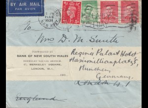 Australien: 1938: Air Mail New south Wales to München/Germany