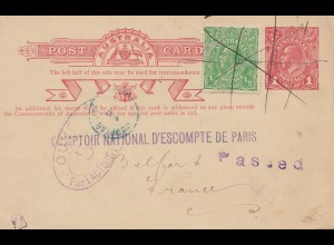 Australien: 1919: Melbourne post card to Paris, censor, passed