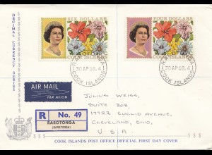 Australien: 1968: Registed Air Mail Cook Islands to USA, FDC