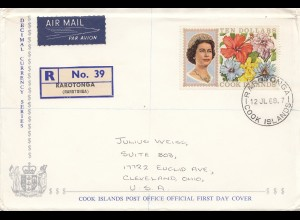 Australien: 1968 Registered FDC to USA from Cook Islands Rarotonga