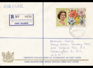 Australia 1968: Registered Rarotonga Cook Islands to USA - FDC