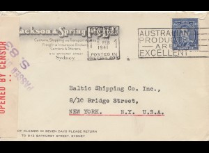Australia 1941: Sydney to Ney York, Censor