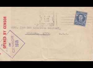 Australia 1944: Letter Sydney to USA, Censorship