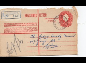 Australia 1957: Registered letter Newtown South to Sydney