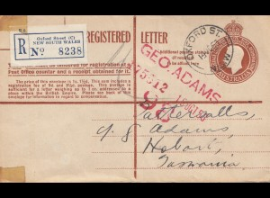 Australia 1953: Registered letter, Oxford Street to Tasmania