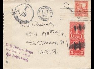 Australia 1943 Auckland to USA: US Postage charge - San Pedro California- Tax