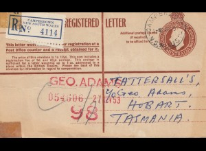 Australia 1953: Registered letter Camperdown NSW to Tasmania