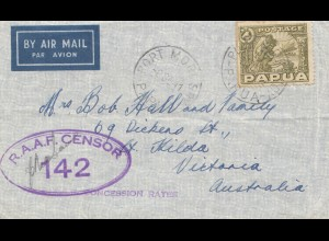 Papua 1941: Air Mail Port Mort to Victoria/Aus.- RAAF Censor-Concession Rates