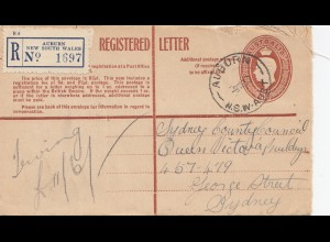 Australia: 1950: Registered letter Auburn NSW to Sydney