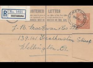 New Zealand: 1937: Registered letter Eketahuna to Wellington