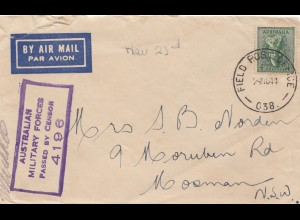 Australia: 1944: Airmail Military forces - Censor - Field post