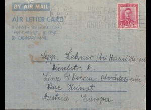 New Zealand: 1949: Air Mail letter card New Plymouth to Germany