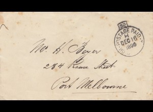 Australia - Postage Paid 1896 to Melbourne